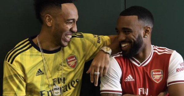74b67841a Images have surfaced online seemingly confirming the new Arsenal home and away  kits after forward duo Pierre-Emerick Aubameyang and Alexandre Lacazette  have ...